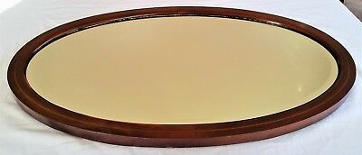 Good Quality Large Edwardian Cross-Banded Mahogany Oval Mirror, c1905