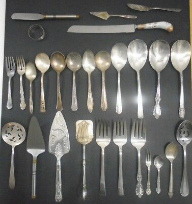 Antique Vintage Lot Silver Plate Collection Flatware Serving 68 Pieces