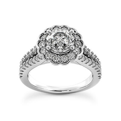Engagement & Wedding 1.45 Ctw Round Ring H Si2 White Gold 14k Lab Grown Igi Certified Made To Order Diamond