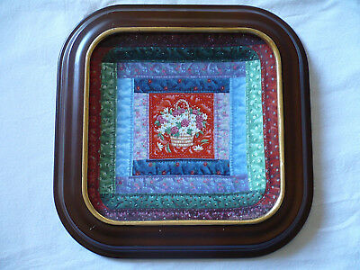 Cherished Traditions, Log Cabin Quilt Plate, Mary Ann Lasher, Bradex, Wood Frame