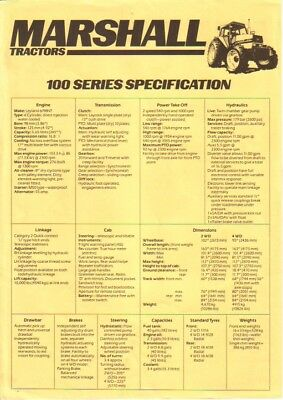 Marshall 100 Tractor Specification Sheet. Excellent Condition. Rare item.