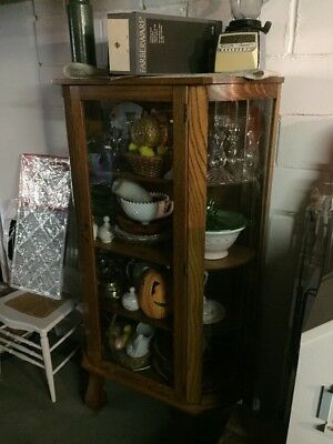 Oak China Cabinet w/ Rounded Glass And Brass Hardware