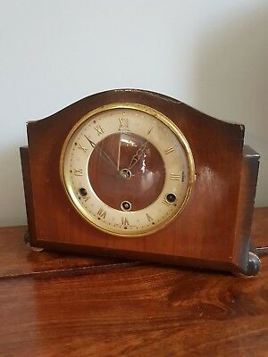 Antique 1930's Bentima Westminster Chime Oak Mantel Clock with Pendulum & Key