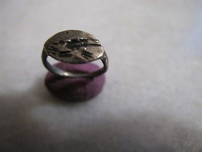 Antique Medieval Engraved Silver  ring