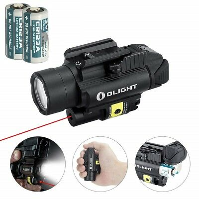 Olight PL-2RL Baldr White LED Flashlight + Red Laser Gun Light w/ 2x Batteries