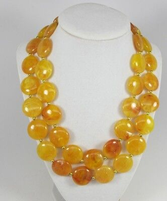 Chunky gold yellow amber  necklace,multi strand statement yellow necklace, beade