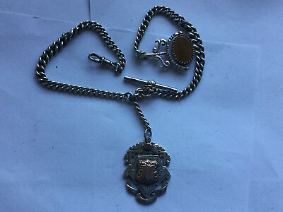 Antique Sterling Silver Pocket Watch Chain and Fobs