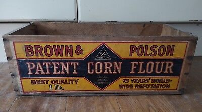 Vintage Original Brown & Polson Flour Wooden Crate Box Display Storage