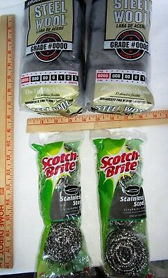 (2) 12 Packs Rhodes American Grade #0000 Steel Wool & (2) 3 Packs Scotch Brite