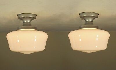 "Restored PAIR Antique Milk Glass Schoolhouse ""PERFECTALITE"" Light Fixtures"