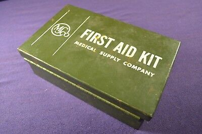 Vintage Military Metal MS Co First Aid Kit Medical Supply Stocked