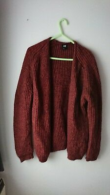 f292837d083 H m Burnt Orange Autumnal Long Sleeve Wooly Knitted Slouch Cardigan 8 10 12
