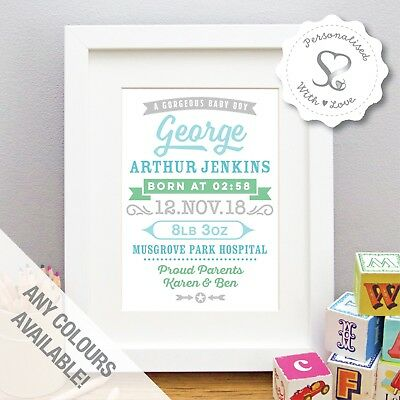 Personalised Vintage Retro New Baby Print Birth Details Nursery Art Picture Gift