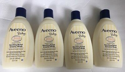 New Lot Of 4 AVEENO BABY SOOTHING RELIEF CREAMY WASH FRAGRANCE FREE 12 Oz Bottle