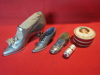 Antique Victorian or Edwardian plated metal shoe pincushion lot w/ sewing kit