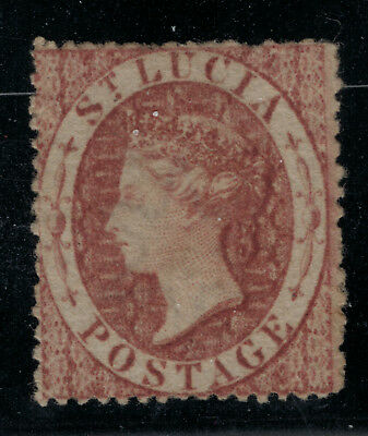 St. Lucia Stamp Scott #1, Mint No Gum, Faults