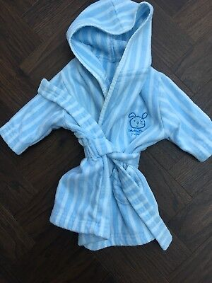 Baby boys 3-6 month hooded robe towelling stripe