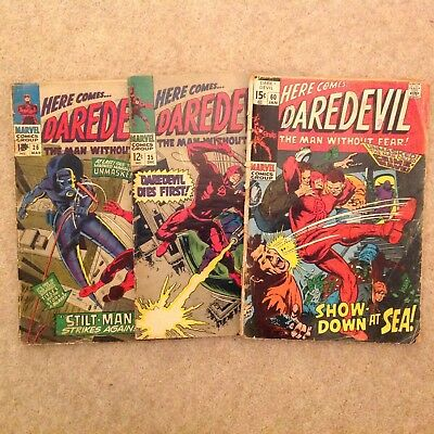THREE DAREDEVIL # SILVER AGE MARVEL 1ST VOLUME COMICS. US ISSUES 26, 35 and 60.