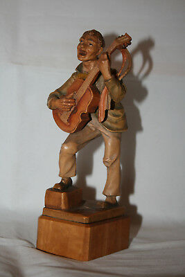 Vintage Italian ANRI Carved Wooden Figure Guitar Playing Musician