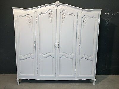 Vintage French Armoire/4 Door French Wardrobe / Painted Shabby chic style (VB227