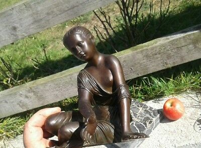 Fine Antique 19Th Century Solid Bronze Figure Pretty Young Lady