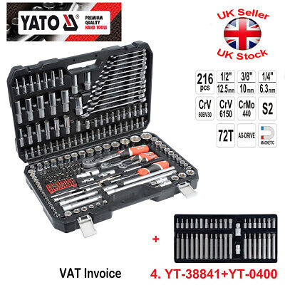 Yato 216 pcs Ratchet Socket Set 1/2 1/4 3/8 + Bit Set 40 pcs YT-38841 + YT-0400