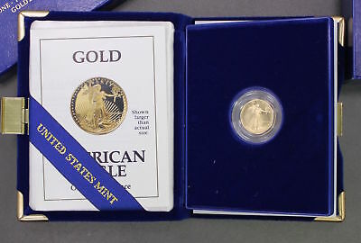 1991 U.S. American Eagle 1/10 TH OZ Gold Proof Coin with box & COA