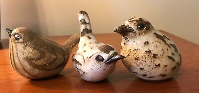 Andersen Studio Pottery - Lot Of Three (3) Small Birds !!! Very Nice, Low Price