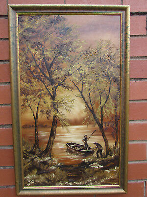 Large Vintage oil painting on board signed and dated fisherman lakeside