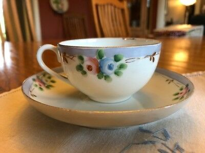 Antique Tea cup & saucer set - Nippon HAND PAINTED gold, blue & white floral