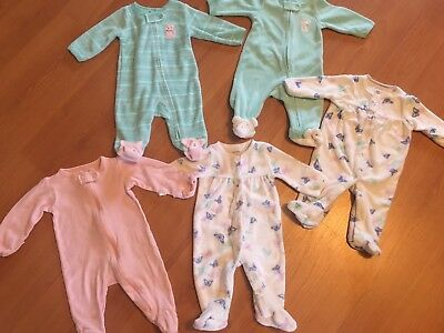 Lot Of (5) Baby Girl Newborn Footed Sleepers , Excellent Cond!