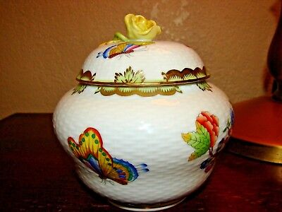 Herend Hungary Covered Porcelain Queen Victoria Handpainted Jar w/ Butterfly