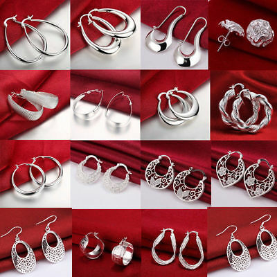 Women 925 Sterling Silver Dangle Hoop Earrings Charm Gift Xmas Crystal Jewellery