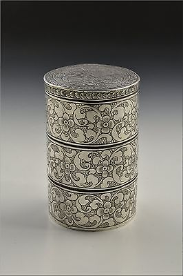 Antique 19th Century Chinese Export  Silver Stack Box w/ Dragon & Flowers