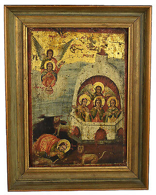 17th / 18th Century Icon Depicting Daniel with Lions & The Fiery Furnace