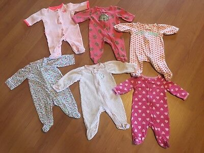 Lot Of (6) Baby Girl Newborn Footed Sleepers, Perfect Cond!!