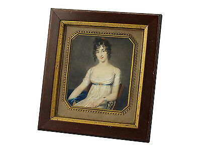 Signed 19th Century Jean Guerin Miniature Portrait Painting Watercolor on Paper