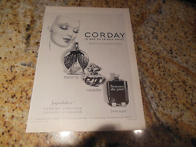 Orig 1928 Corday French Perfume Print Ad~Allen Picot Hosiery Stockings Lingerie