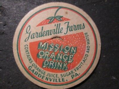 Milk Bottle Cap Gardenville Farms Dairy Gardenville Pa Mission Orange