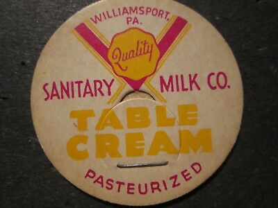 Milk Bottle Cap Sanitary Milk Co Dairy Williamsport Pa