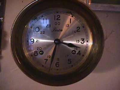 "Vintage Boston Chelsea Brass Ships Bell Chiming Manual Wind Clock,5.5"",runs"