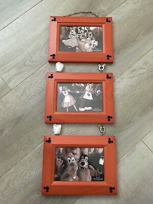 New Disney Parks Three Wood Charm Hanging Photo Frame - 4 x 6 Mickey Mouse Icon