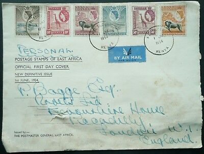 "KUT 1st JUNE 1954 ""POSTAGE STAMPS OF EAST AFRICA"" FDC FIRST DAY COVER TO LONDON"