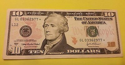 Series 2004A Snow  $10 FRB L12 Star Note Ft. Worth FW Printed