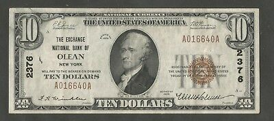 1929 Type 1 $10 The Exchange National Bank of Olean New York Charter 2376