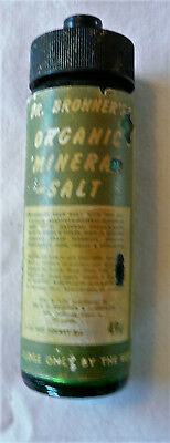 Dr. Bronner's Antique Organic Mineral Salt Bottle With Contents And Paper Label