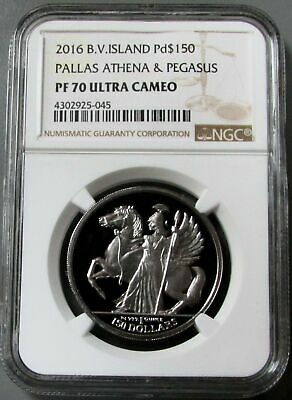 2016 Palladium British Virgin Is 999 Minted Athena & Pegasus Ngc Proof 70 Uc