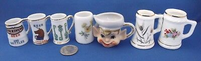 Miniature Bone China Beer Stein Mug Set of 7 - Toby Elf Unicorn Flowers Keys