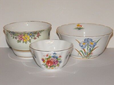 3 x Vintage English China Bowls Tuscan Colclough & Royal Grafton c.1940s Floral