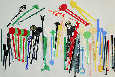 Mixed Lot of 70 Vintage Plastic Drink Swizzle Sticks Cocktail Stirrers Retro Bar